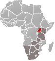 Map of Africa with Uganda marked in red