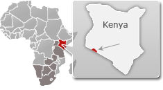 Map of Kenya with a highlight of Masai Mara National Reserve
