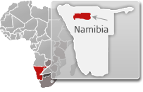 Map of Namibia with a highlight of Etosha National Park