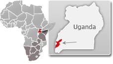 Map of Uganda with a highlight of Queen Elizabeth National Park