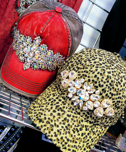 Red and Brown AB Cap and Leopard Print Cap with Clear Crystals