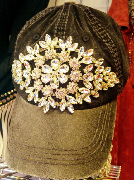 Black Bling Cap with Grey Bill and Clear Crystals