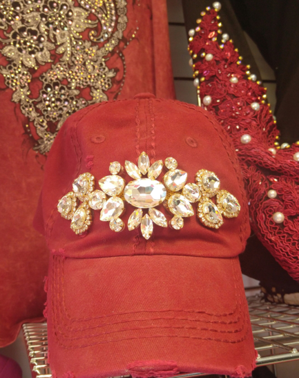 Burgandy Bling Cap with Clear Crystals