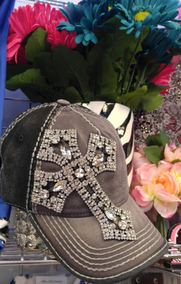 Grey and Black Bling Cross Cap