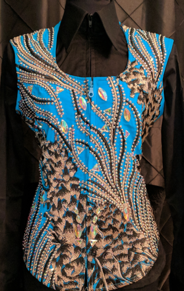 Turquoise, Gold and Black Vest