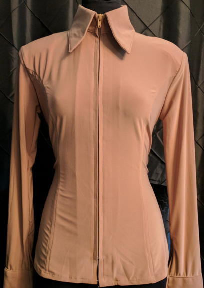 Tobacco Lycra Plain Fitted Shirt