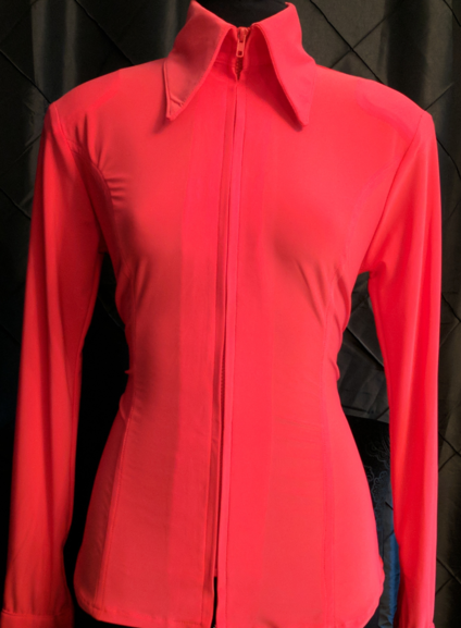 Bright Coral Lycra Plain Fitted Shirt