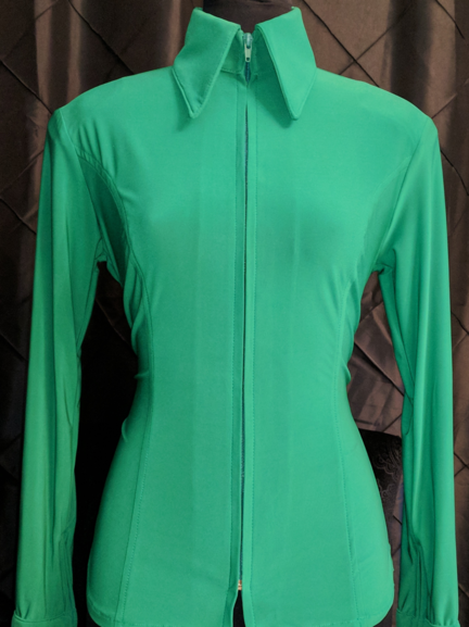 Emerald Green Lycra Plain Fitted Shirt