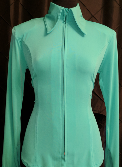 Mint Green Lycra Plain Fitted Shirt