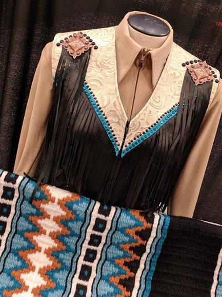 Black, Cream and Teal Fringe Vest