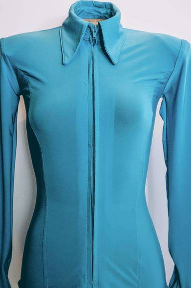 Light Turquoise Lycra Plain Fitted Shirt