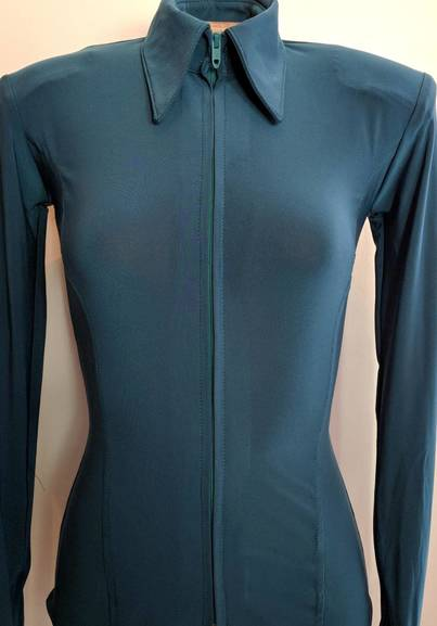 Dark Teal Green Lycra Plain Fitted Shirt