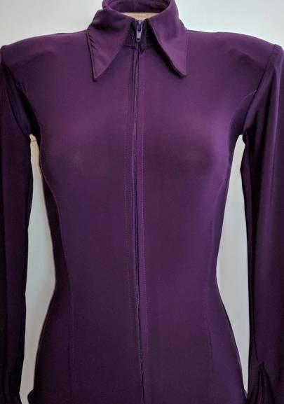 Aubergine Lycra Plain Fitted Shirt