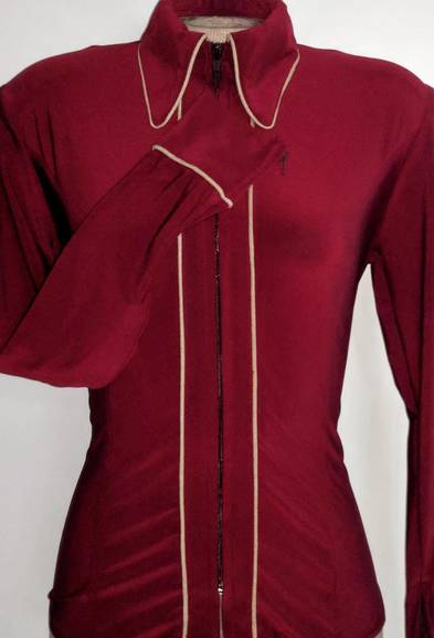 Garnet Red Lycra Plain Fitted Shirt with Taupe Piping