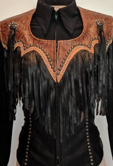 Black and Brown Yoke Fringe Vest with Tobacco Trim