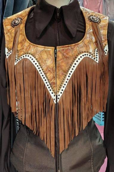 Dark Brown and Rust Yoke Fringe Vest with White Trim