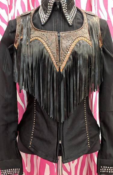 Black and Brown Fringe Yoke Vest with Tobacco Leather Trim