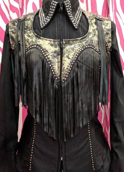 Black and Gold Fringe Yoke Vest with Black Trim