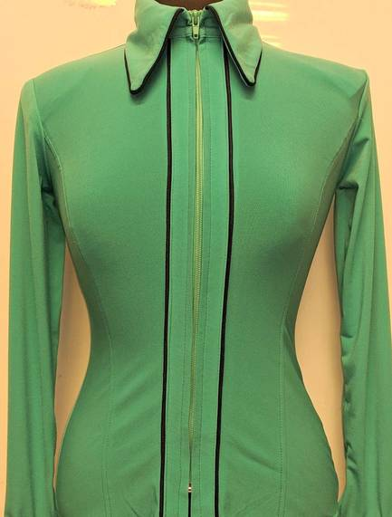 Light Teal Lycra Plain Fitted Shirt with Black Piping