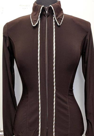 Dark Brown Lycra Plain Fitted Shirt with Gold and White Piping