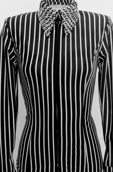 Black and White Lycra Pinstripe Fitted Shirt