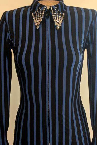 Black and Royal Blue Lycra Pinstripe Fitted Shirt
