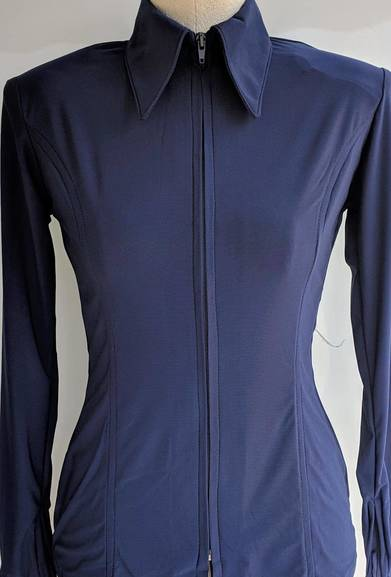 Navy Blue Lycra Plain Fitted Shirt