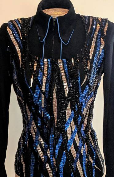 Royal Blue, Black and Gold Lace Vest