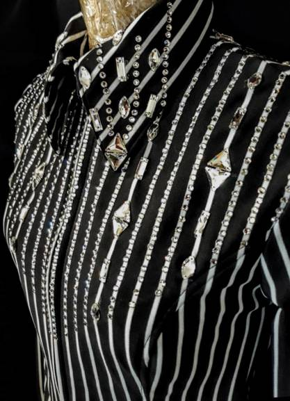 Black and White Lycra Pinstripe with Large Crystals Fitted Shirt