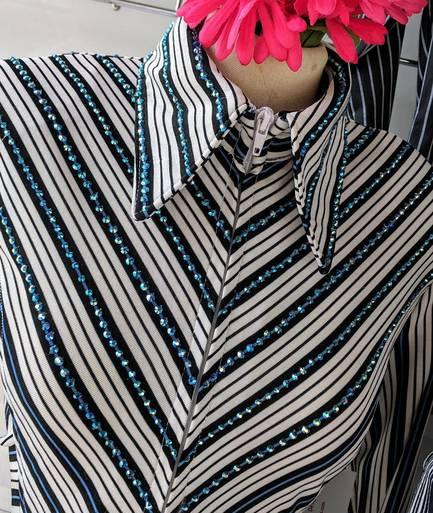 Off White, Black, Denim Blue Lycra Embellished V Design Fitted Shirt