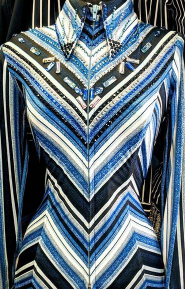 Multi Blue Lycra Embellished V Design Fitted Shirt