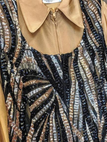 Black, Gold and Bronze Lace Vest
