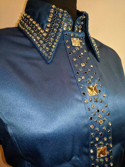 Royal Blue Satin Zip Front Fitted Shirt with Placket