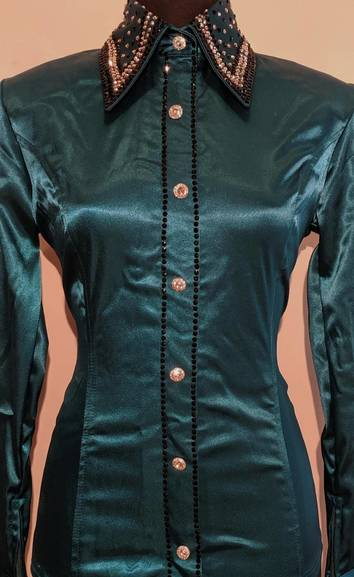 Dark Teal Satin Zip Front Fitted Shirt with Placket