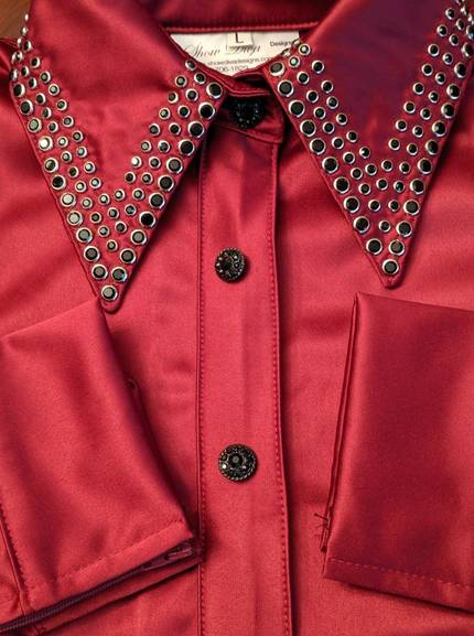 Burgandy Satin Zip Front Fitted Shirt with a Placket