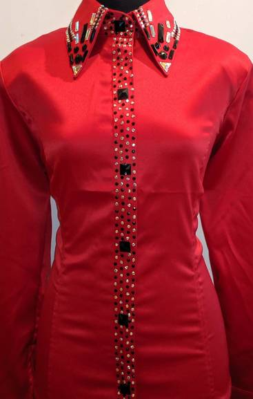 Bright Red Satin Zip Front Fitted Shirt with a Placket