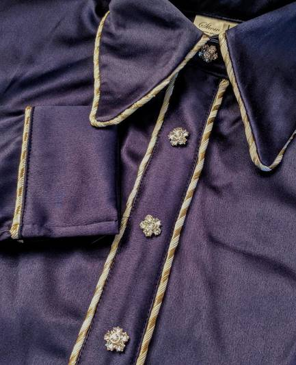 Navy Blue Satin Hidden Zip Front Fitted Shirt with Gold Piping