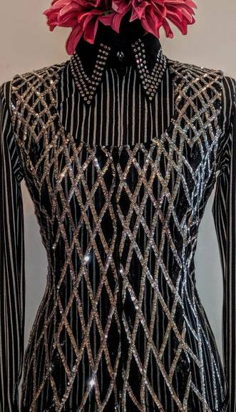 Black and Silver Criss Cross Lace Vest