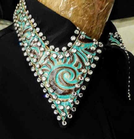 Black Lycra Fitted Shirt with Turquoise Leather Trim and Rim-Set Crystals