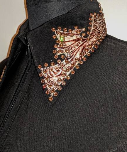 Black Lycra Fitted Shirt with Bronze Leather Trim and Rim-Set Crystals
