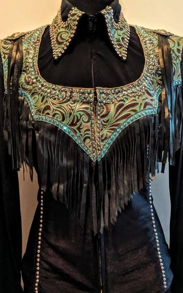Turquoise Leather Yoke Fringe Vest and Matching Lycra Fitted Shirt