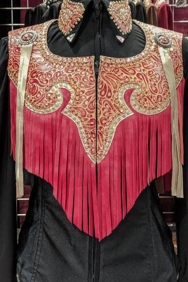 Red and Tan Leather Yoke Fringe Vest with Matching Lycra Shirt