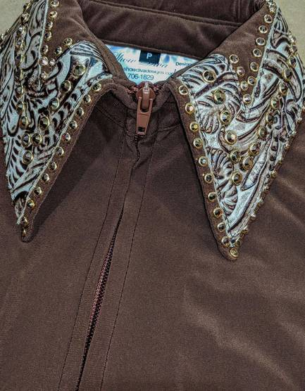 Chestnut Brown Lycra Fitted Shirt with Turquoise Leather Trim and Crystals