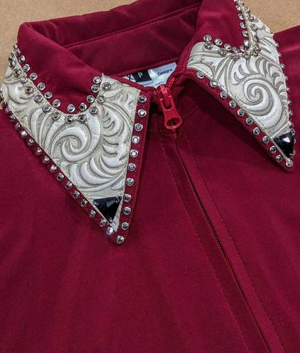 Garnet Red Lycra Fitted Shirt with Off White Leather Trim and Crystals