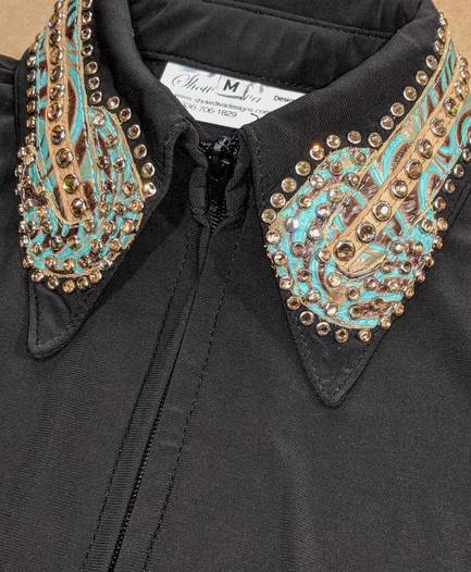 Black Lycra Fitted Shirt with Turquoise and Taupe Leather Trim and Crystals