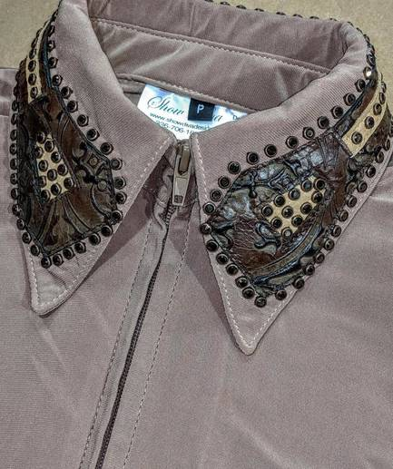 French Tan Fitted Shirt with Dark Brown and Tan Leather Trim and Crystals