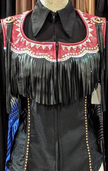 Red and Black Leather Fringe Vest with AB Crystals
