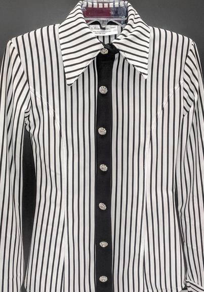 White and Black Lycra Pinstripe with Hidden Zipper