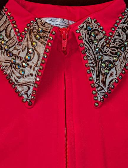 Bright Red Lycra Fitted Shirt with Bronze Leather Trim and Crystals