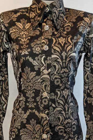 Silver Grey Floral Stretch Hidden Zipper Satin Fitted Shirt